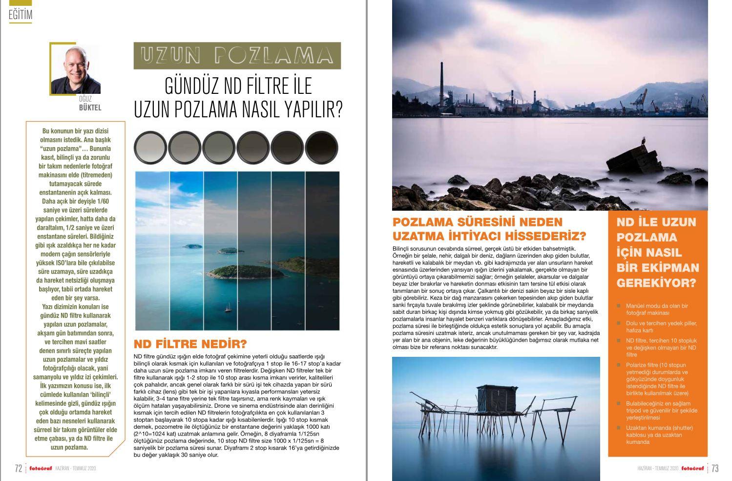 Fotoğraf Dergisi Haziran – Temmuz 2020 Sayısı: ND Filtre ile Uzun Pozlama